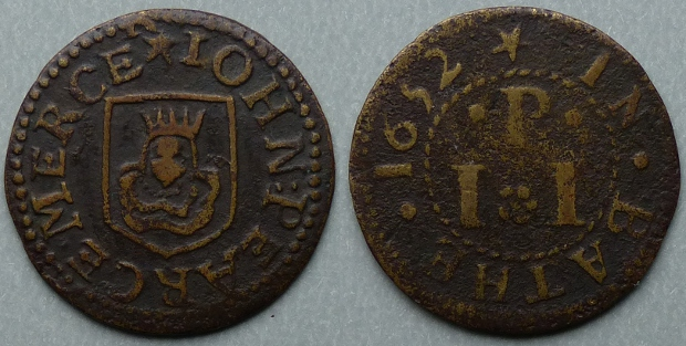 Bath, John Pearce 1652 farthing