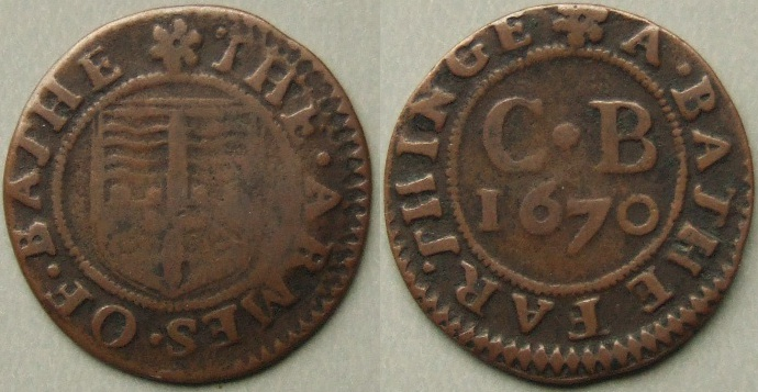 Bath, city issue 1670 farthing N----