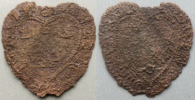 East Bergholt, Lancelot Felton heart-shaped halfpenny