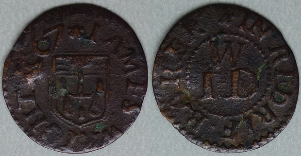Rotherhithe, James Wright 1667 farthing