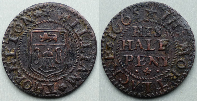 Mortlake, William Thorneton 1665 halfpenny