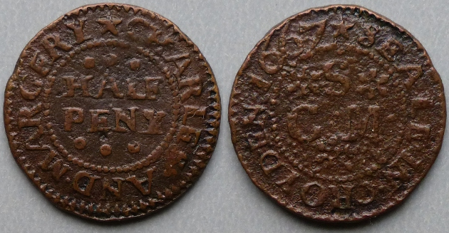 Croyden, Charles and Margery Seale 1667 halfpenny