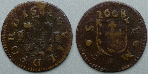 Guildford, town issue 1668 farthing