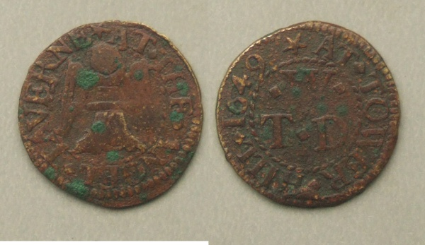 Tower Hill, Angel Tavern 1649 farthing
