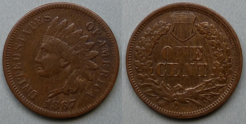 1867 Indian Head, cent / penny