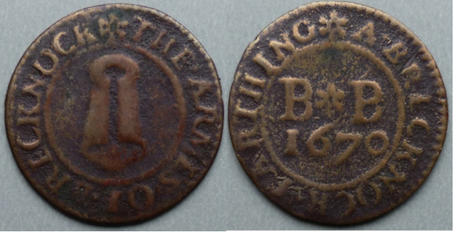 Brecon, town issue 1670 farthing