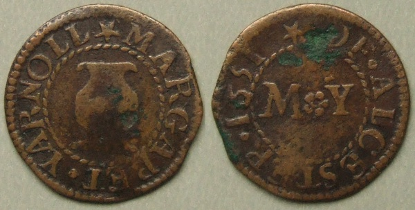 Alcester, Margaret Yarnoll 1651 farthing