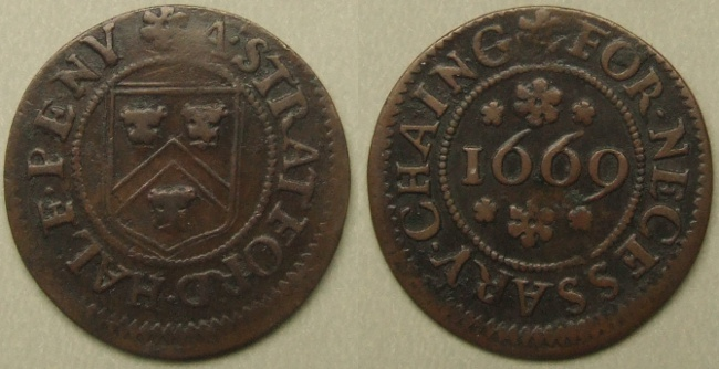 Stratford-on-Avon, 1669 town issue halfpenny