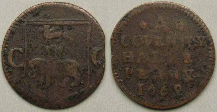 Coventry, city issue 1669 halfpenny N5308