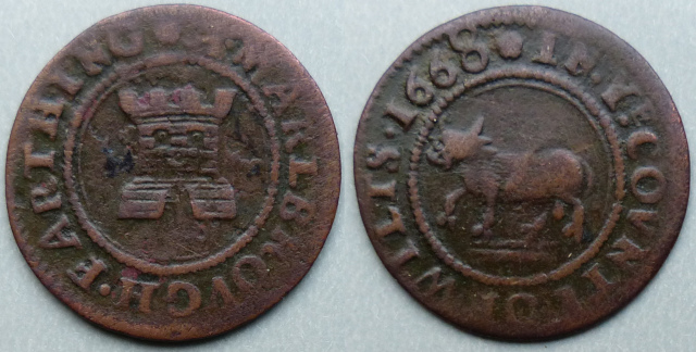 Marlborough, town issue 1668 farthing N5505